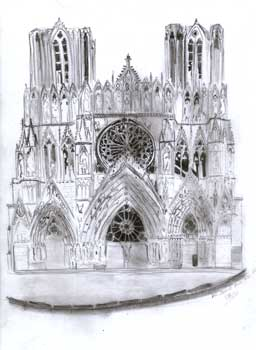 artiste peintre illustrateur graphiste paco croquis cathedrale de reims. Black Bedroom Furniture Sets. Home Design Ideas